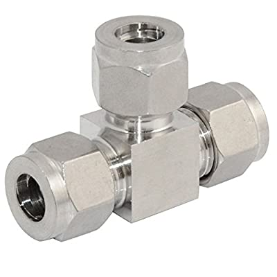 "SuperWhole 6mm 1/4"" Equal TEE Compression Plumbing Pipe Fitting Double Ferrule Connector"