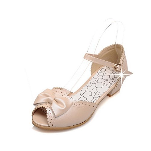 VogueZone009 Mujeres Hebilla Peep Mini Tacón Sólido Sandalias de vestir con Colgantes Albaricoque