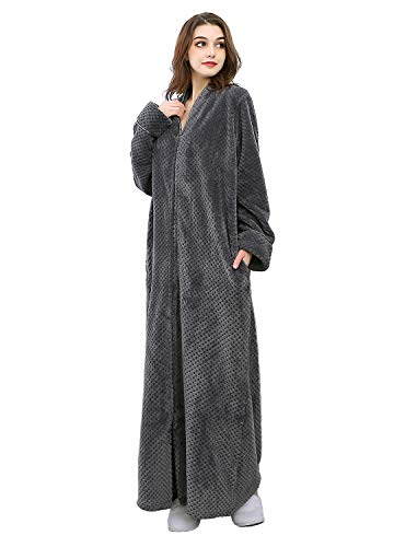 Womens Fleece Robe Plush Long Zip-Front Bathrobe with Pockets (Large, Grey)
