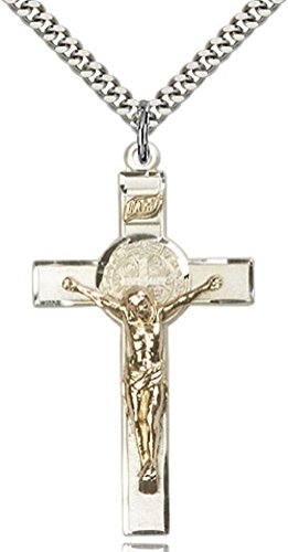 (Heartland Store Men's Sterling Silver St Benedict & Gold Filled Crucifix Pendant + 24 Inch Rhodium Plated Chain & Clasp)