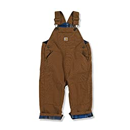 Carhartt Baby-Boys Washed Canvas Bib Overall, Carhartt Brown, 24 Months