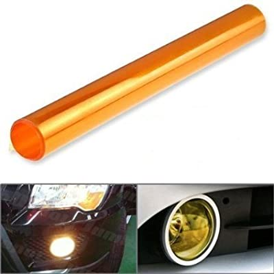 DIYAH 12 X 48 Inches Self Adhesive Headlight, Tail Lights, Fog Lights Tint Vinyl Film (Orange): Automotive