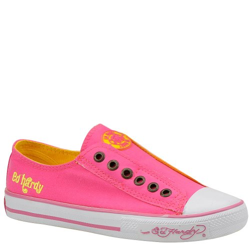 Ed Hardy LR NEON Womens Canvas Top Sneaker Shoes (6 US Womens, Neon Fuchsia) Ed Hardy Womens Sneakers