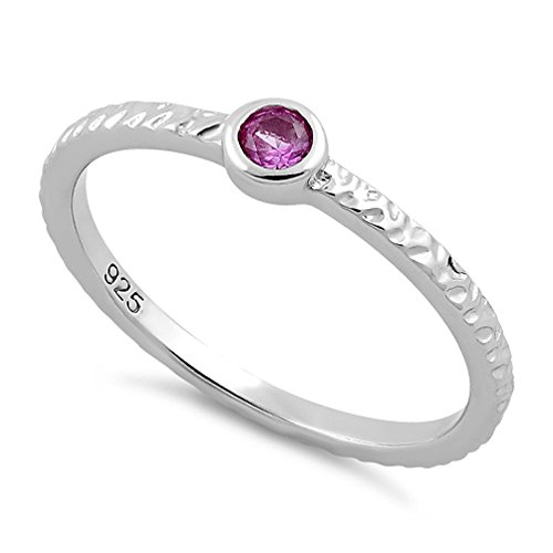 (Heartbeat Sterling Silver 9 Colors Round-Cut CZ Collection Stackable Family Birthstone Ring- (Size 3-11) (Pink-OCT Birthstone, 10))