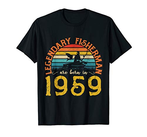 Mens Vintage 1959 60th 60 Year Old Fishing Birthday Gift T shirt
