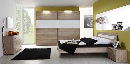 Schlafzimmer 4-tlg. in Eiche sägerau-Nachb. mit Abs. in Glas Weiß, 2-trg. Schrank B: 225 cm, Futonbett 180 x 200 cm, 2 Nachtschränke B. 52 cm