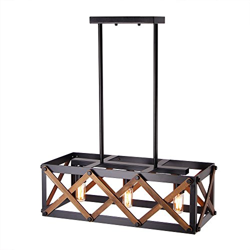 Giluta Rectangle Wood Metal Pendant Light Kitchen Island Chandelier Lamp Hardware Rustic Industrial Chandelier Vintage Ceiling Light Fixture 3 Lights, Black C0032