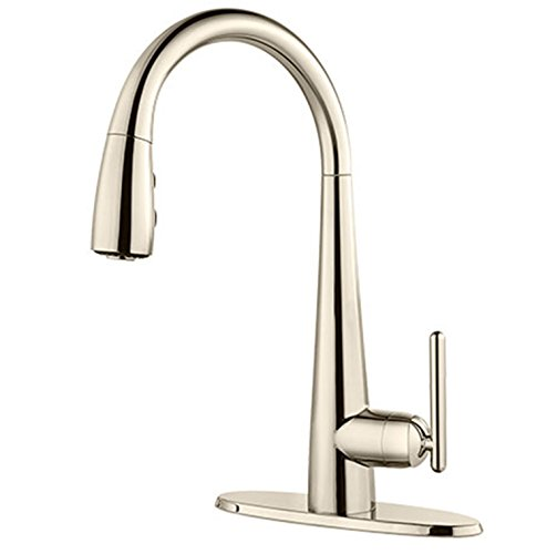 - Pfister GT72SMDD Lita 1-Handle Pull-Down Bar/Prep Kitchen Faucet, Polished Nickel