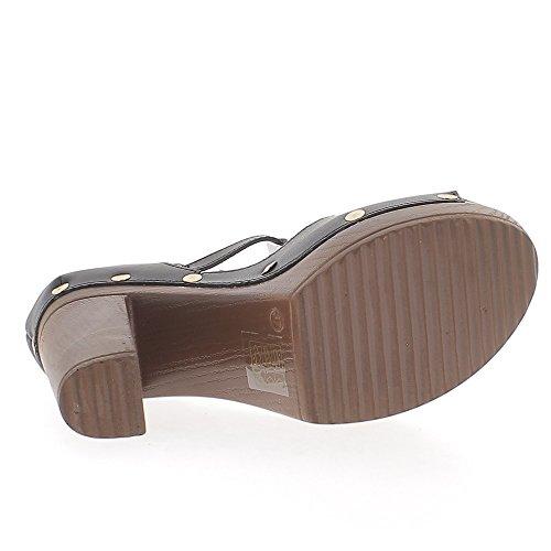 Escarpins ouverts noirs à talons de 12 cm et plateforme