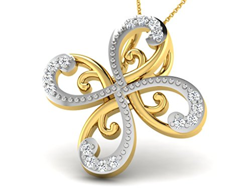 Or Jaune 9 ct Pendentifs Diamant en forme de fleur, 0.07 Ct Diamant, GH-SI, 0.55 grammes.