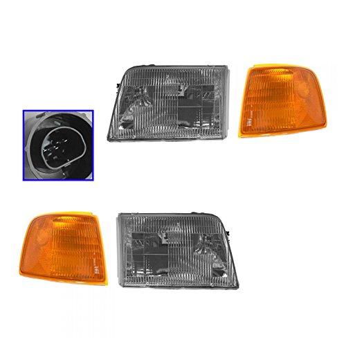 Headlight Headlamp & Corner Parking Lights Left & Right Set Kit for 93-97 Ranger