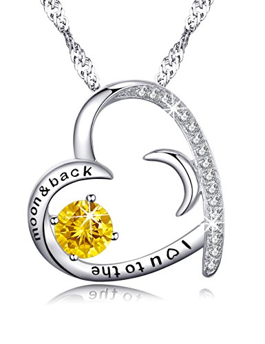 Citrine Swarovski Jewelry Necklace Christmas Gifts for Her Sterling Silver Moon and Sun Love Heart Pendant Engraved