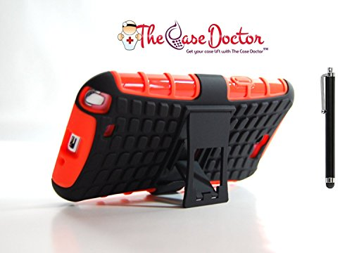 TCD for Samsung Galaxy NOTE 2 Hybrid [ORANGE] Grenade Armor Case Dual Layer [Hard TPU & Soft Silicone Mix] Shock Proof Good Grip Protective Case Multi Purpose Protection Kickstand