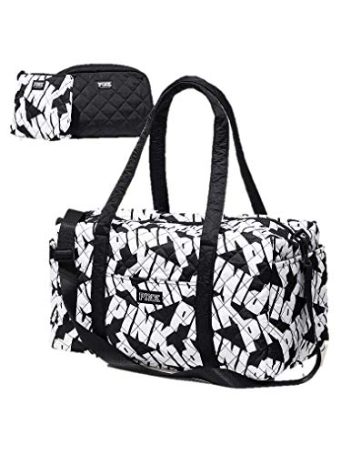 Victoria's Secret Duffle Bag Oversized Black logo Set 3 pieces Quilted Black Bag And Small Signature Black And White Bag