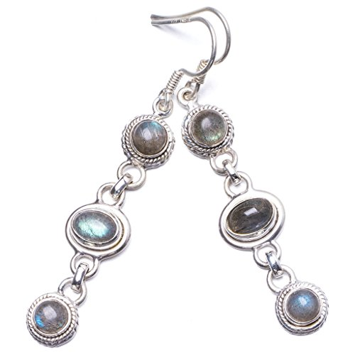 Natural Blue Fire Labradorite Handmade Unique 925 Sterling Silver Earrings 2.25