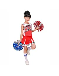 Girls Red & Blue Cheerleader Outfit + Poms fits 3-15Yrs Clothes Dress