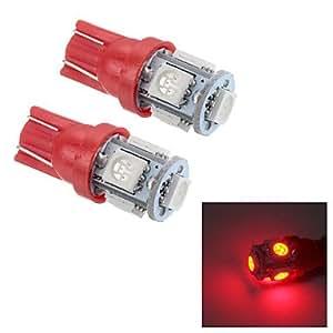GD Merdia t10 25lm 0.5w 5x5050smd llevó la luz de la lectura de la luz / la luz de placa / luz lado rojo (24v / par)