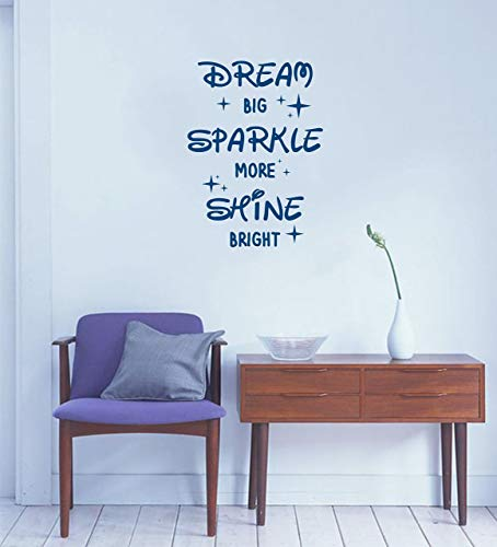 Motivational quote wall decal for nursery, bedroom, school, office, play room, etc | Dream Big, Sparkle More, Shine Bright wall vinyl sticker art ()