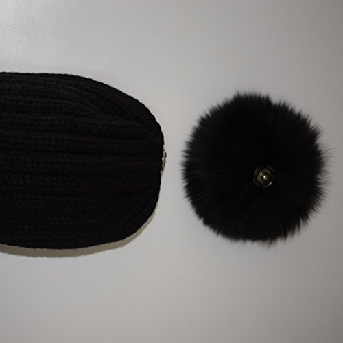 Valpeak Womens Winter Fur hats Real Large Removable Raccoon Fur Pom Pom Beanie Hat (Black with Raccoon)