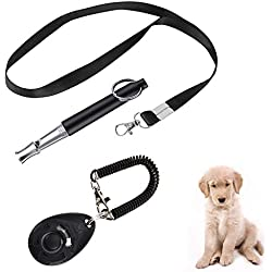 PIVBY Dog Training Clicker Big Button Clicker and Dog Whistle to Stop Barking Adjustable Pitch Ultrasonic with Wrist Lanyard Strap 2-Pack