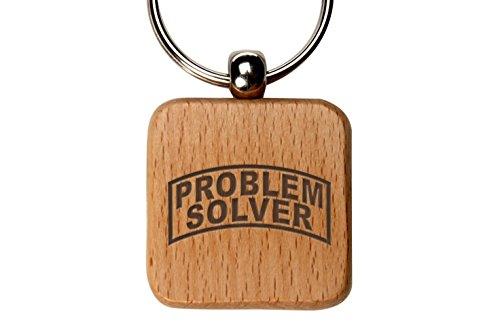 Square Wooden Key Chain NDZ Banner Problem (Problem Solver Wood)