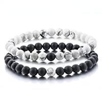 Distance Bracelets for Lovers-2pcs Black Matte Agate & White Howlite 6mm Beads By Long Way