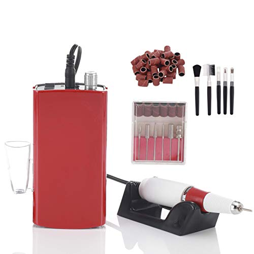 Miss Sweet Portable Nail Drill Machine Rechargeable Electric Nail File for Acrylic Nail RPM30000 (Y3 Red) (Color Shine Sweet)
