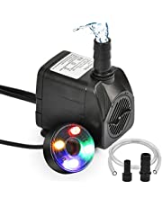 ATPWONZ 10Watt Submersible Water Fountain Pump with LED Light for Water Feature, Aquarium Fish Tanks, Outdoor Pond, Small Pools, Indoor Fountain Pumps, Home Décor Fountain Garden House Water