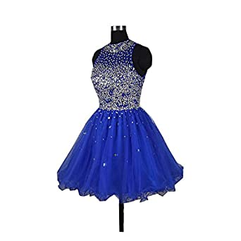 Fannydress Crystals Beads Homecoming Dresses 2018 Short Jewel Open Back Piping Cheap Prom Dresses for Party