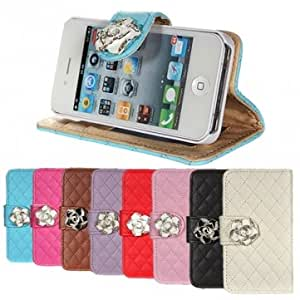 Crystal Rose Flower Flip PU Leather Wallet Case Cover For iPhone 4 4S --- Color:Blue