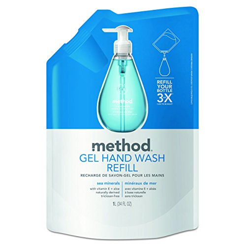 Method Naturally Derived Gel Hand Wash Refill, Sea Minerals, 34 Ounce (Pack of 6)