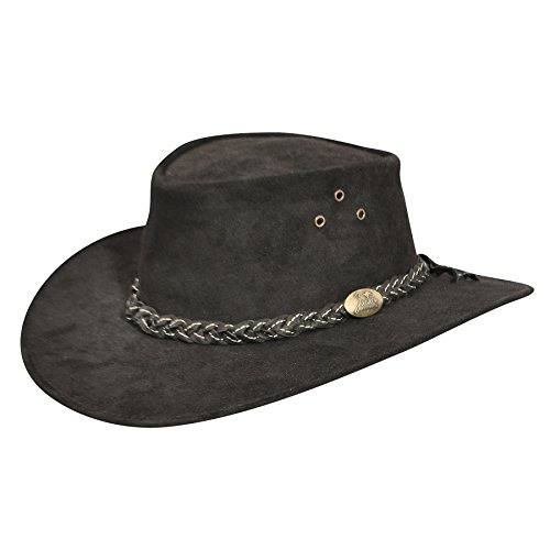 Jacaru Men Wallaroo Suede Outback Hat Black - Outback Suede