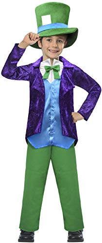 (Boys Velvet Hatter Alice in Wonderland Mad Crazy Colourful World Book Day Week Carnival TV Film Movie Fancy Dress Costume Outfit(5-6)