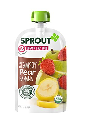 Sprout Organic Baby Food Pouches Stage 2 Sprout Baby Food, Strawberry Pear Banana, 3.5 Ounce (Pack of 12); USDA Organic, Non-GMO, Made with Whole Foods, No Preservatives, Nothing Artificial - Pear Strawberry Fruit