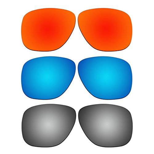 3 Pair ACOMPATIBLE Replacement Polarized Lenses for Oakley Crossrange XL Sunglasses OO9360 Pack - Crossrange Oakley Lenses Replacement