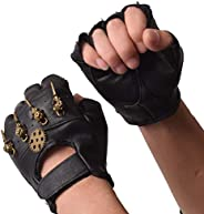 GRACEART Steampunk Leather Gloves Men with Gears Fingerless Mittens Heavy Metal Rocker Gloves