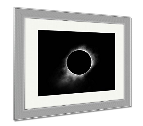 Eclipse Path Light (Ashley Framed Prints Total Solar Eclipse, Wall Art Home Decoration, Black/White, 34x40 (frame size), Silver Frame, AG6464644)