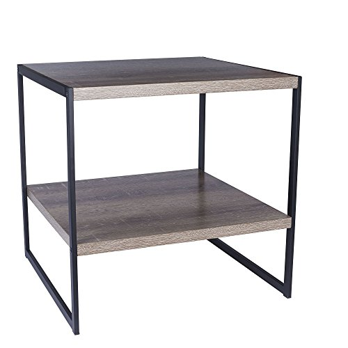 Household Essentials 8077-1 Square Wooden Side Table/End Table with Storage Shelf, Ashwood ()