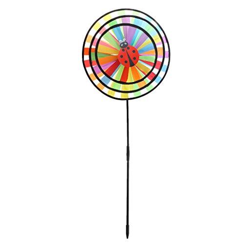 YDZN Colorful Rainbow Triple Wheel Wind Spinner Windmill For Garden Yard Outdoor Decor