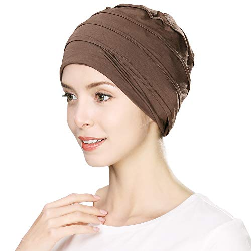 Jeff & Aimy Unisex Headwrap Head Scarf Chemo Beanie Hat Slouchy Skull Hat Cancer Patient Sleeping Hat Ponytail Turban Alopecia Bald with Ponytail Brown 55-60CM