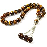 Masbaha Unisex Genuine Tiger Eye Gemstone Prayer Beads (MGT 111)