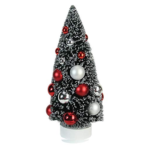 CLESH Christmas Tree Decoration Mini Frosted Red Silver Artificial Xmas Tree Family Sisal Pine Table Décor Xmas Tree 9""