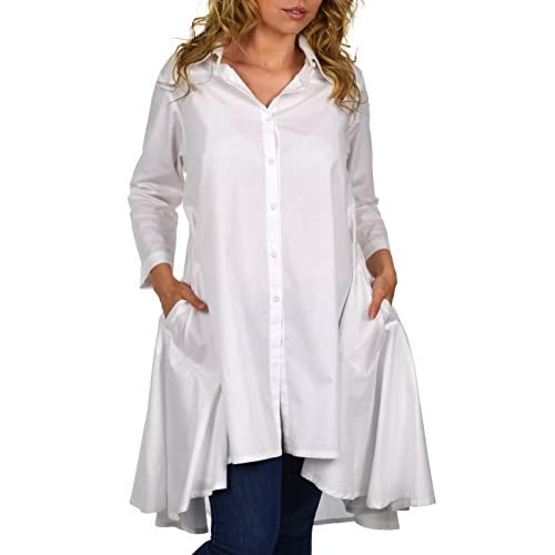 Top Dare2BStylish Hi Low Button Down A Line Swing Dress Shirt Top reg and Plus Sizes for cheap