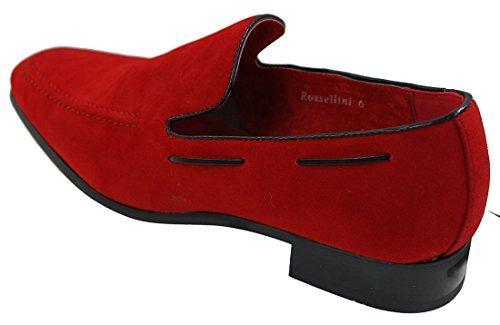 Schuhe Rote On Slip Herren Italienische Loafer eleganten Suede Leder lässigen Velourleder PqU5U0nv