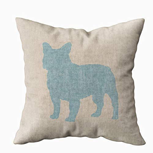 TOMWISH Hidden Zippered Pillowcase French Bulldog in Blue on Linen Look 16X16Inch,Decorative Throw Custom Cotton Pillow Case Cushion Cover for Home Sofas,bedrooms,Offices,and More