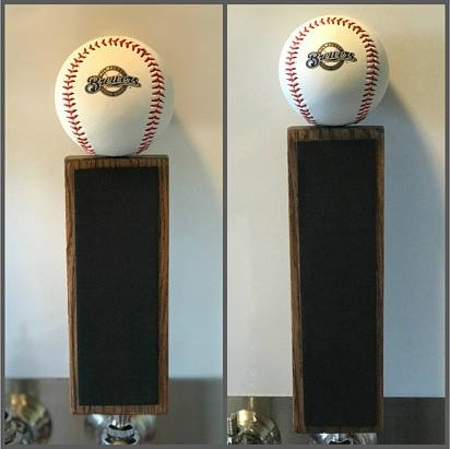 "Milwaukee Brewers Baseball Chalkboard Tap Handle (11.5"", ..."