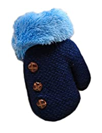Unisex Baby Cute Buttons Fur Thick Gloves Kids' Lined Soft Cashmere Mittens (Dark-blue)