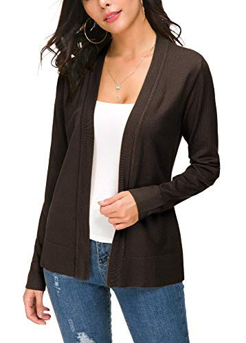 Women's Autumn Coat Long Sleeves Cardigan Open Front Knitted Sweater (M, Brown)