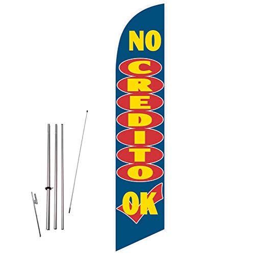 No Credito OK (Blue) Feather Flag with Complete 15ft Pole kit and Ground Spike (Best Payday Loan Lenders)
