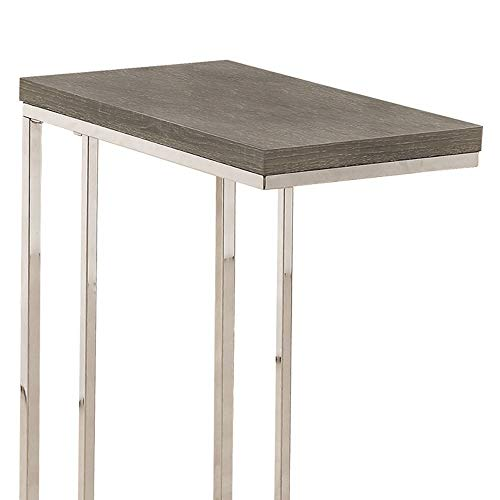 Monarch Specialties I 3008, Accent Table, Chrome Metal, Dark Taupe